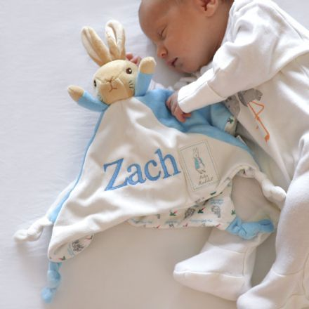 Personalised Beatrix Potter Blue Bunny Baby Comforter